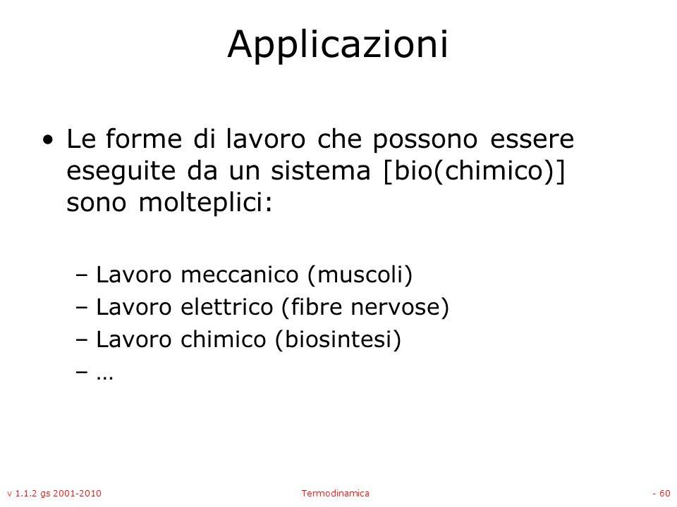 Applicazioni Le forme di lavoro che possono essere eseguite da un sistema [bio(chimico)] sono molteplici: